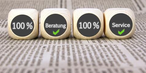 100 % Beratung - 100 % Service Würfel