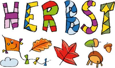 Kinderschrift Herbst mit Zeichnungen Blätter und Dachen