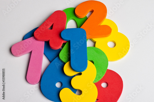 Pile of foam colored numbers
