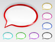 Set of multicolored glossy speech bubbles