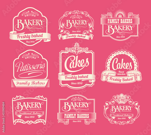 Collection of bakery and cake labels and ribbons