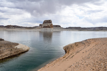Lone rock in Lake Powell, Arizona