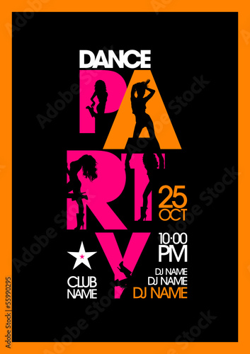 Dance party design template with fashion girls silhouettes.