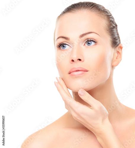 Fototapeta Beautiful Girl Touching Her Face. Beauty Face.