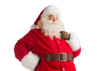Portrait of happy Santa Claus thinking