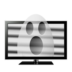 Ghost emerges through television screen