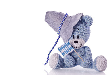 oktoberfest teddy bear with fedora and blue white banner