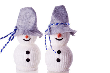 bavarian snowman with fedora hat