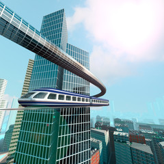 aerial view of Futuristic City with train