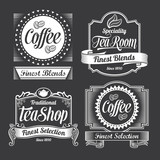 chalkboard coffee and tea signs on a black background