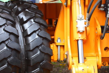 detail big wheel of the heavy building dozer