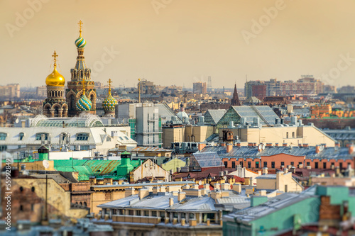 canvas print picture Saint Petersburg Skyline and Church of the Savior on Blood Dome