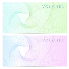 Gift certificate / Voucher / Coupon template. Colorful pattern