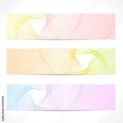 Vector set: colorful Banners. Curve (line, wave) pattern