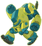 Giant Walking Yellow Robot Vector Cartoon