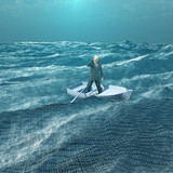 Man Adrift in tiny boat in binary ocean