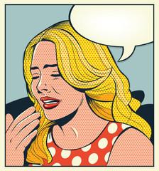 Vintage girl crying