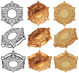 Aztec Sun Medallion Vector Icon Set