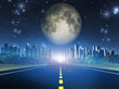 Highway to city and full moon