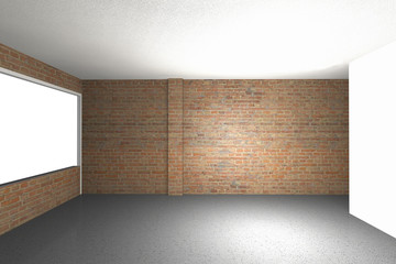 empty room with brick wall