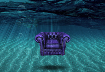 Arm chair floats above sea bottom