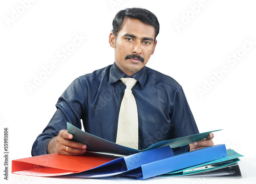 Indian Businessman with Files