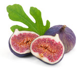 Some fresh  figs with green leaves