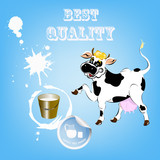 Label dairy products.A cheerful cow and a bucket of fresh milk