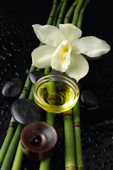 white orchid and bamboo grove ,zen stone ,massage oil ,