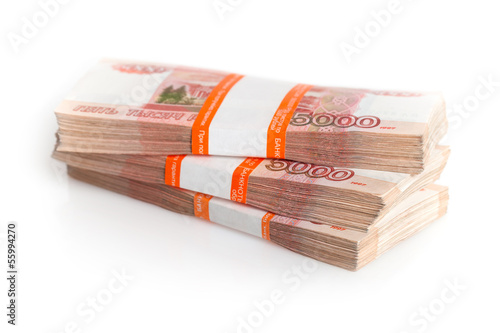 Large stack of banknotes, Russian rubles isolated on white