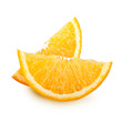 Orange fruit slices isolated on white background.