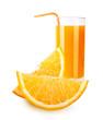 Orange fruit and juice isolated on white background.