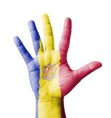 Open hand raised, multi purpose concept, Andorra flag painted