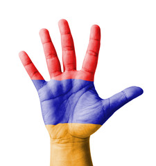 Open hand raised, multi purpose concept, Armenia flag painted
