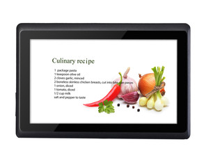 Cooking recipe on tablet pc isolated on white background.