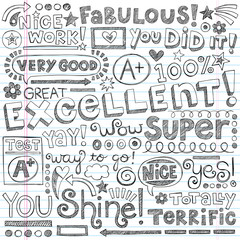 Excellent Great Work Praise Doodles Vector Illustration