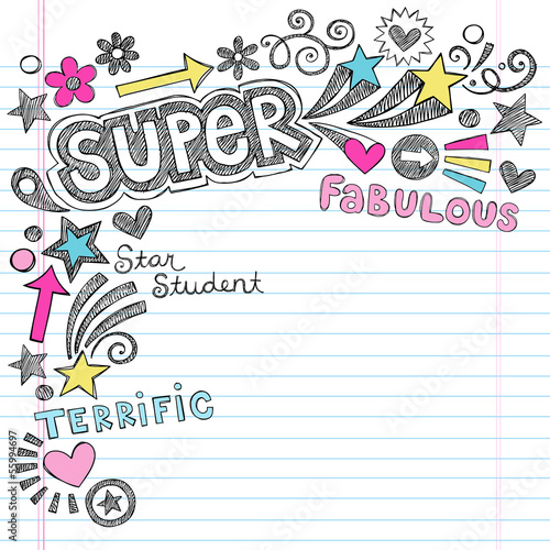 Super Student Praise Back to School Doodles Vector Illustration