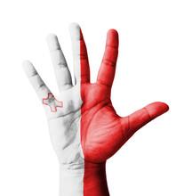 Ouvrir main levée, le concept polyvalent, drapeau Malte peint
