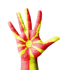 Open hand raised, Republic of Macedonia flag painted