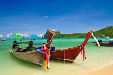 Beautiful beach and boat in phi phi island, Phuket, Thailand