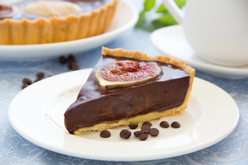 Chocolate tart with figs.