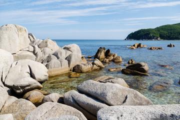 Rocky sea coast of Russia. Sea of Japan.