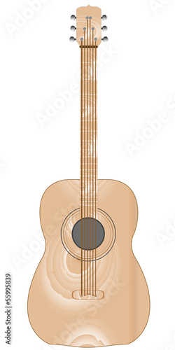 Classical acoustic wooden guitar, isolated on white background