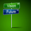 Vision future direction road sign.