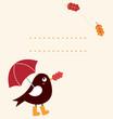 Cute autumn greeting Card with cartoon Bird ( vector )