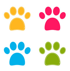 Cute colorful Doggie Paws isolated on white