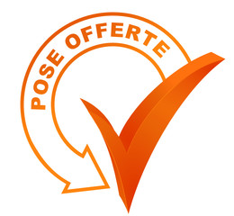pose offerte sur symbole validé orange
