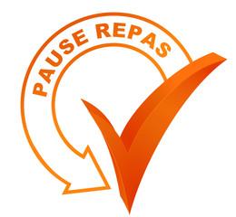 pause repas sur symbole validé orange