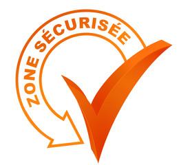zone sécurisée sur symbole validé orange