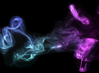 Blue and green smoke dance
